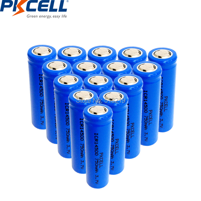 15PCS PKCELL 14500 3.7v AA li ion recharegable battery ICR14500 lithium batteries for power tools toys amps headlights-in Replacement Batteries from Consumer Electronics    1