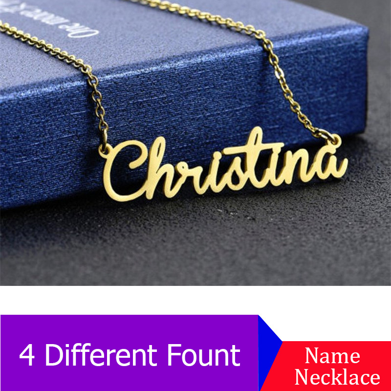 Personalized Name Necklace Bijoux Femme Stainless Steel Pendant ID Name Necklaces Pendants Personalized Any Font Name Necklace in Pendant Necklaces from Jewelry Accessories