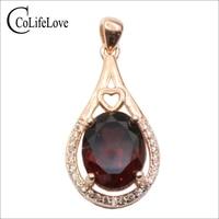CoLife Jewelry Rose Gold Color 925 Silver Garnet Pendant Natural Dark Red Garnet Silver Pendant Sterling Silver Garnet Jewelry