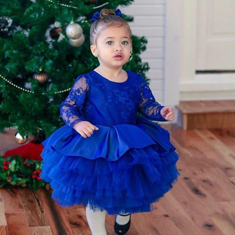 Date bleu mignon fleur fille robe gonflé belle robe de bal pour bébés anniversaire manches longues enfants enfant en bas âge première Communion robe