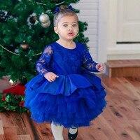 Neue Blau Nettes Blumenmädchen Kleider 2018 Kleine Prinzessin Ballkleid Langen Ärmeln Kinder Kleinkind Erstkommunion Kleid