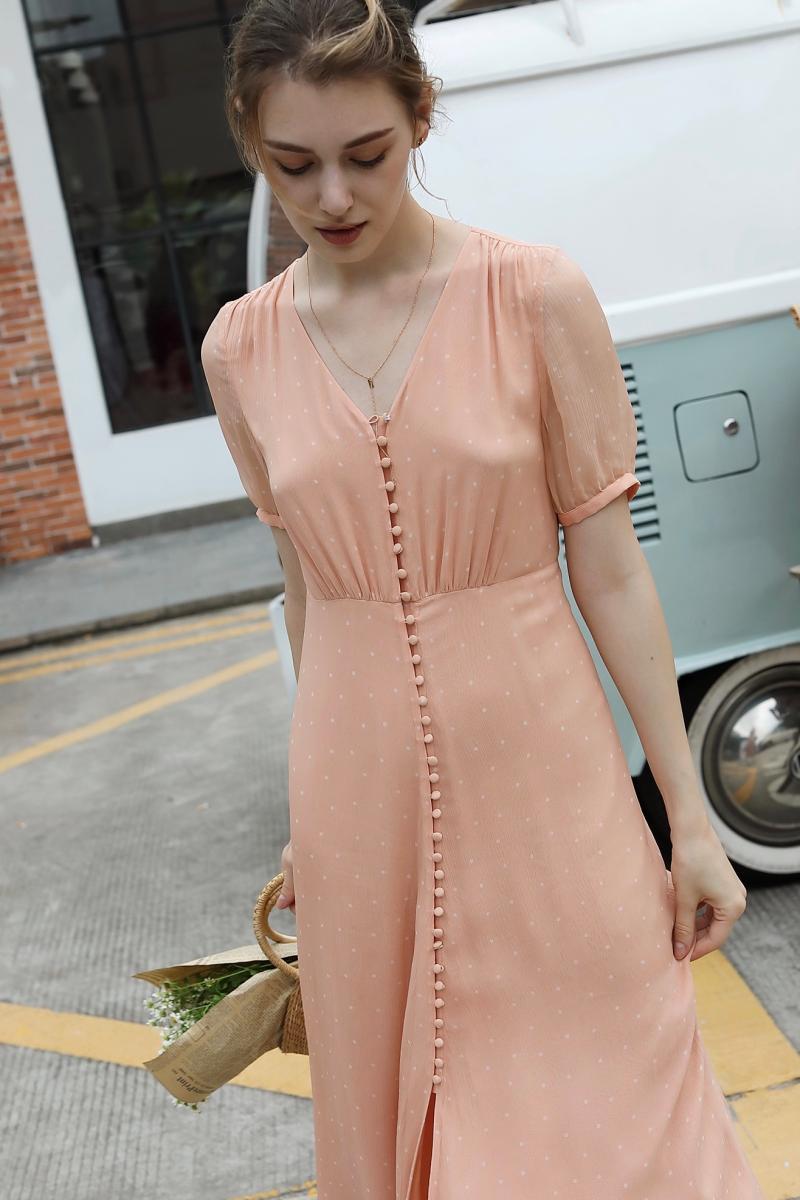 summer Women Dress Vintage Waist Buttoned Silk pink midi Dress