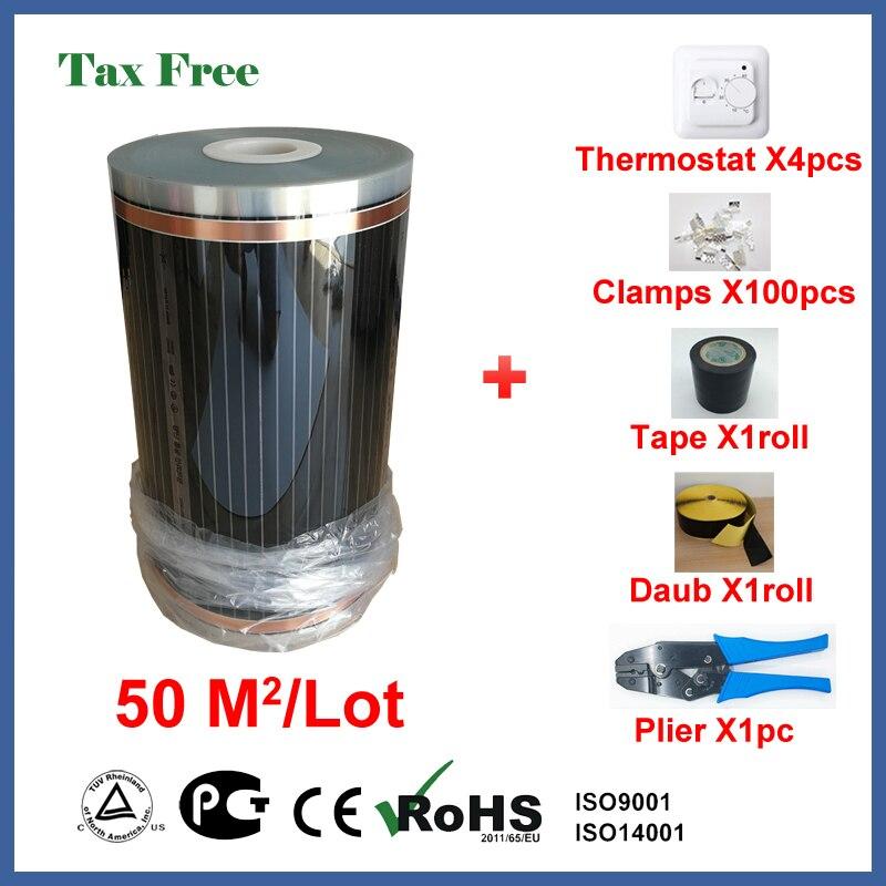 TF riscaldamento a pavimento film di 50 metri quadrati, 50 cm X 100 m riscaldamento a pavimento elettrico film con termostato e accessori