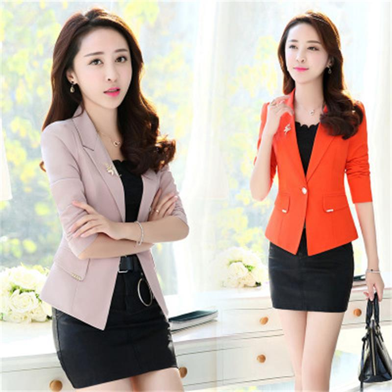High-quality fashion ladies spring Slim short suit jacket shirt thin Korean single button solid color coat decoration brooch