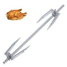 Aire freidora asador accesorios a la parrilla Tenedor de acero inoxidable para pollo asado tenedor para pollo asado a 27,7 cm de longitud