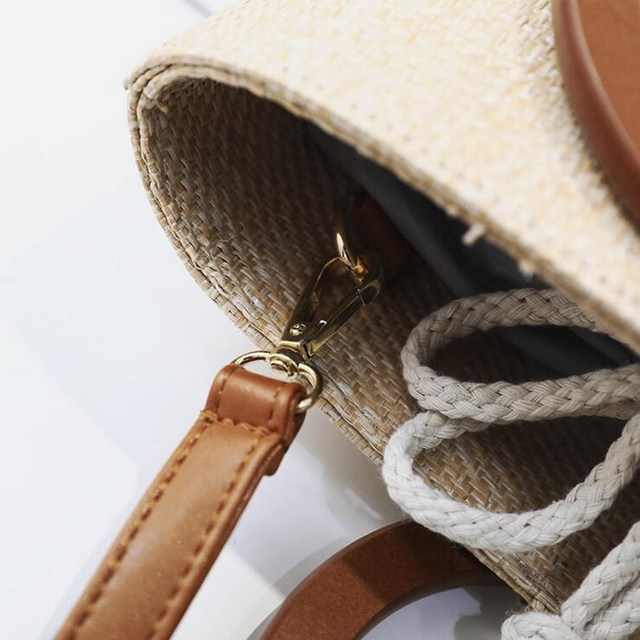 Ring Wood Handle Drawstring Tote Handbags
