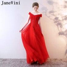 fdb7b119d822f JaneVini Güzel Kırmızı Tül Sequins Uzun Gelinlik modelleri 2018 Bir Çizgi  Kapalı Omuz Dantel Aplikler Kadınlar Örgün Balo Abiye