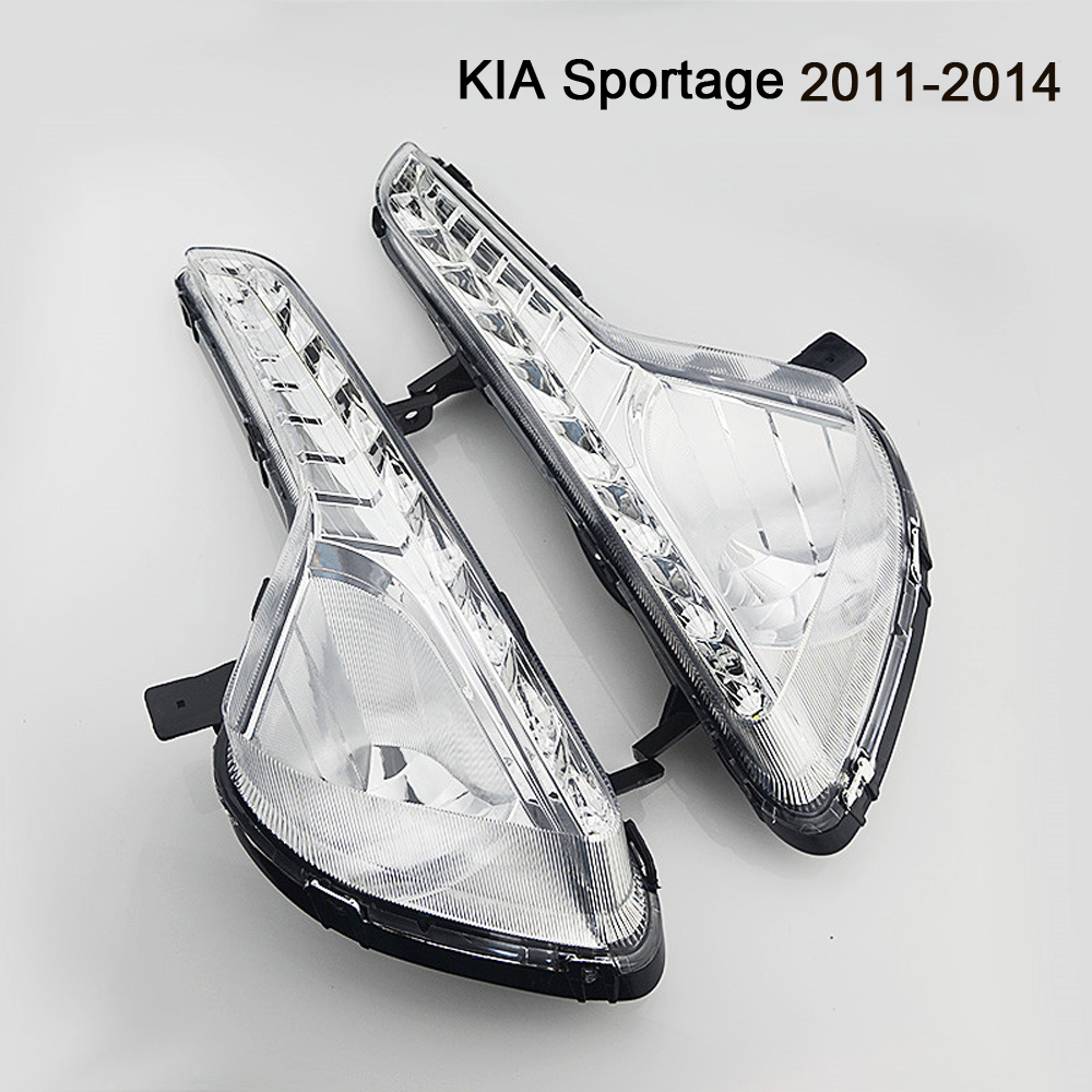 High Quality Car-styling 12V LED DRL Daytime Running Lights Daylight Waterproof Fog Head Lamp For KIA Sportage 2011~2014 10 led car styling drl for kia k2 rio 2011 2012 2013 2014 daytime running lights high quality free shipping