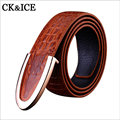2017 Casual Fashion leather crocodile grain mens belts luxury designer brand belts of men high quality jeans belt Smooth buckle