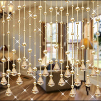 10pcs 1 Meters DIY Glass Crystal Beads Curtain Window Door Curtain Passage Wedding Backdrop Home Decorations