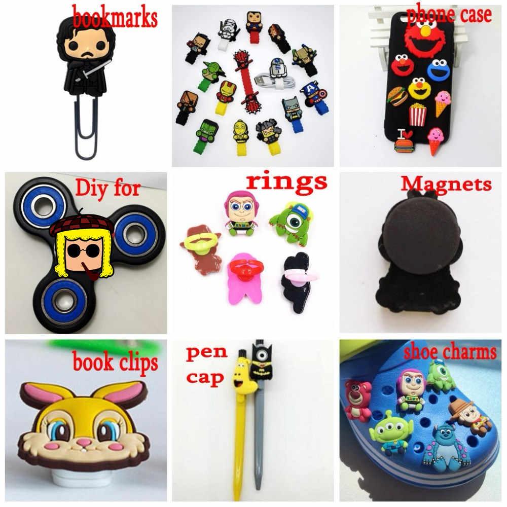 1Pcs Cartoon Dier PVC Flat Back Kinderen Mooie Kat Monster Eend DIY Voor Gadgets Boek Clip Telefoon Case Schoen charms Baby Gift