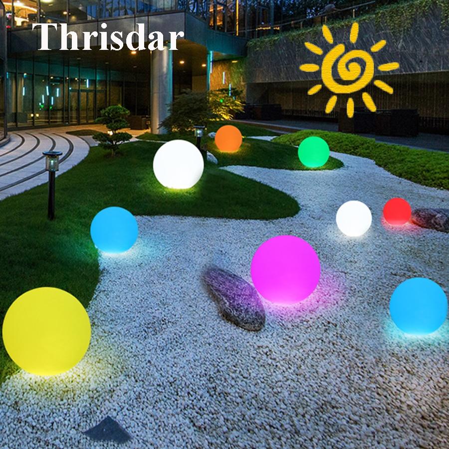 Thrisdar 16 Color Solar Powered Ball Garden Lights With Remote Controller Dia25CM 30CM IP65 Outdoor Landscape Solar Ball Light spacerail diy physics space ball rollercoaster with powered elevator 26000mm rail