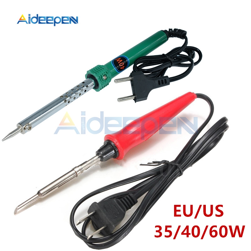 220V 35W/40W/60W Electric Soldering Iron EU/US Plug Plastic Handle Welding Solder Rework Station Repair Tool Red/Random Color