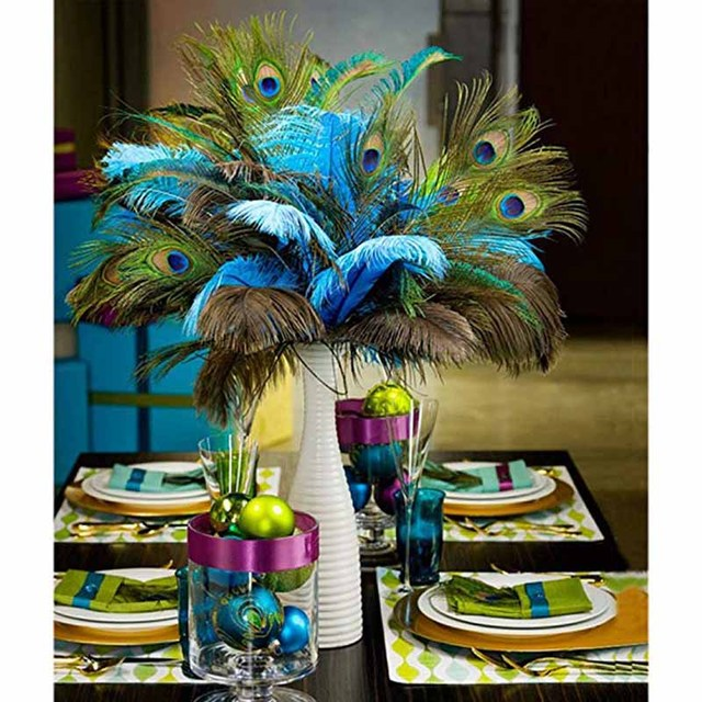 20pcs peacock feather baby bridal shower birthday anniversary cake topper wedding invitation table top centerpieces diy