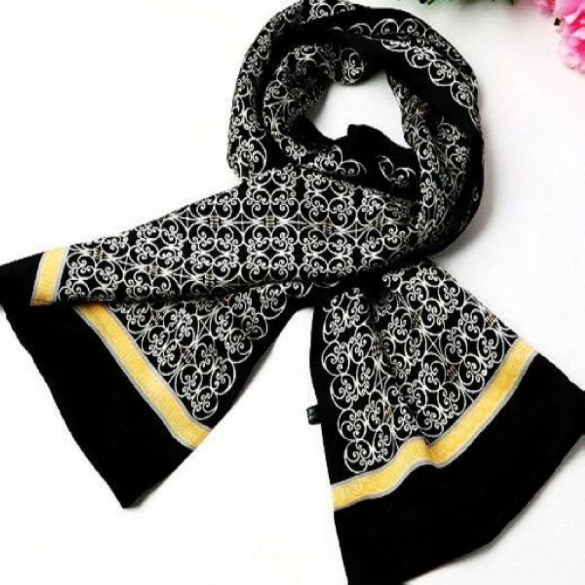 Long Scarf Double-Layer Winter Mens 100%Silk Fashion-Brand Cravat Autumn Spring Black - for