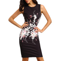 Summer Fashion Women Mini Bodycon sleeveless Dress Vestidos Clothing Casual Sexy Cartoon 3D Print Slim Milk Silk Dress