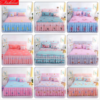 Pink Blue Bed Sheet + 2 Pillowcase Kids Girl Bedspreads Single Twin Double Queen King Size Bedskirt Double Lace Princess 150x200