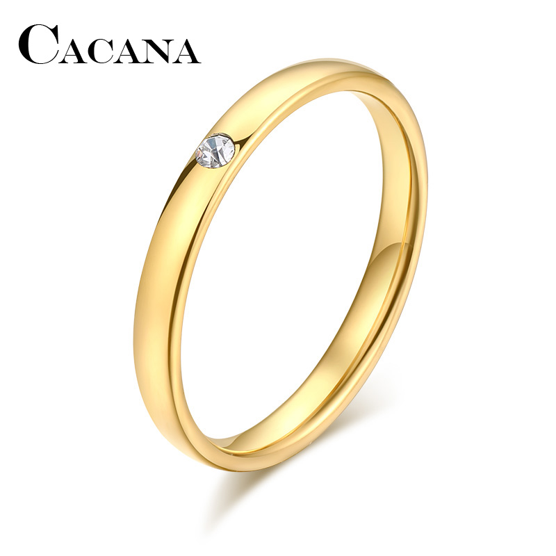 CACANA Stainless Steel Rings For Women Men Simple One Zircon Engagement Fashion Jewelry Rings For Male Party Wedding
