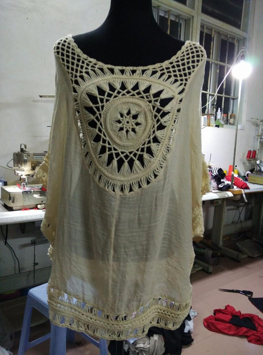 Quality Crochet Bikini Cover-ups Hollow Out Women Handmade Beachwear Bohemia Robe Cover up One-piece Flax Vacation Smock 12