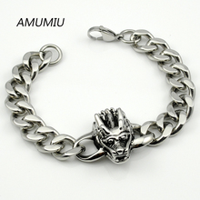 AMUMIU Wholesale PUNK ROCK 316L Stainless Steel Link Skull Bracelet For Men Fashion Jewelry, Retail HZB034