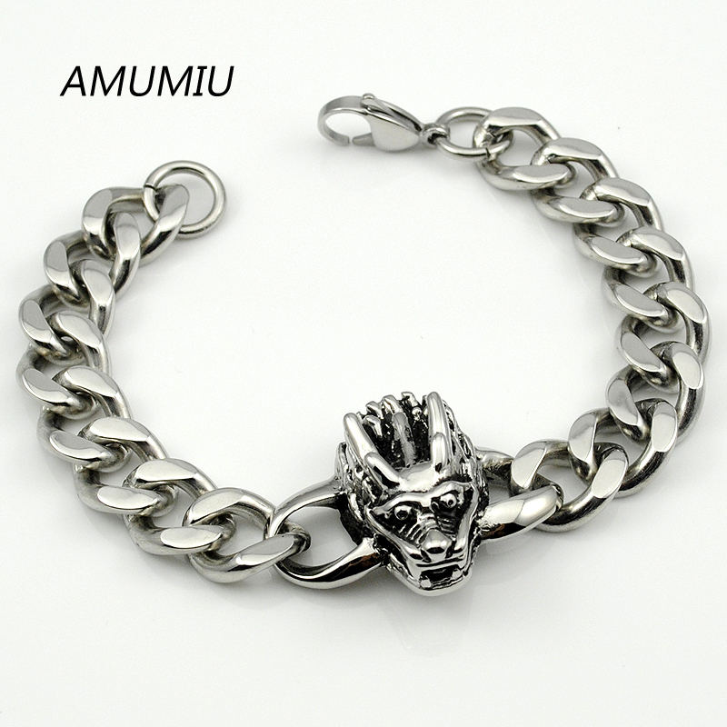 ₩Amumiu punk rock al por mayor 316L Acero inoxidable cráneo pulsera ...