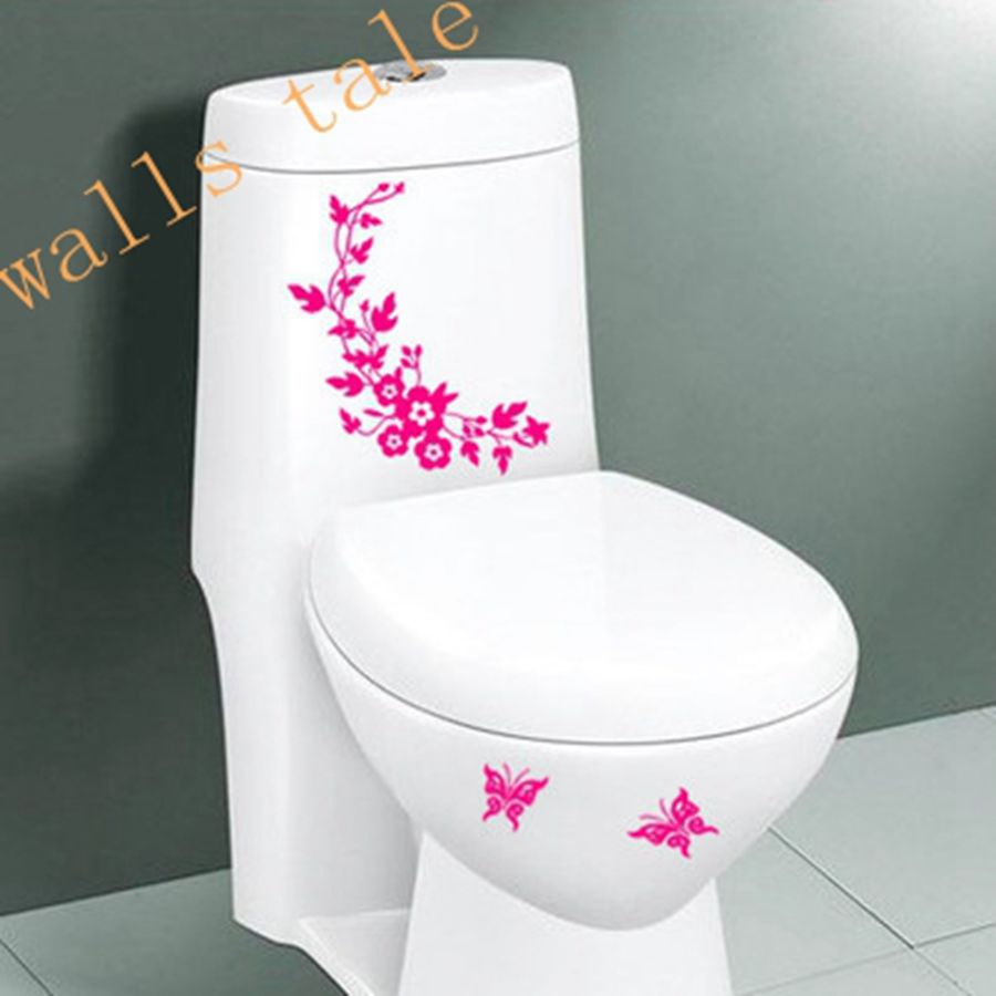 free shipping butterfly flower bathroom toilet wall stickers home decoration wall sticker toilet. Black Bedroom Furniture Sets. Home Design Ideas
