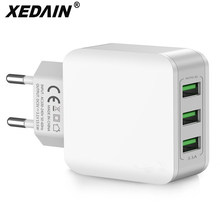 Dual 3 USB Charger 5V 3.1A Mobile Phone EU Charger Plug Travel Wall Charger Adapter For iPhone iPad Samsung Xiaomi Phone Charger цена