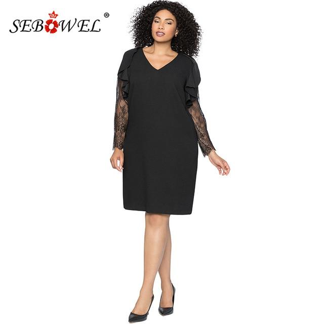 3332e08bede SEBOWEL Plus size Sexy Black Lace Long Sleeve Party Short Dress Women  Elegant Spring V-neck Ruched Sleeve Shift Dresses 5XL