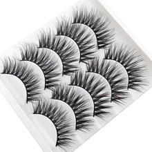 Hot sale 5 Pairs Pack 3D Thick And Soft Fake Eyelashes False Lashes Black Nature Fluffy Long Reusable
