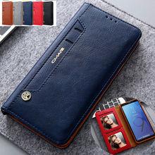 محفظة جلدية لهاتف Samsung S8 S9 S10 S20 Note 9 Note 10 5G ، حافظة رفيعة مع فتحة بطاقة للصور ، غطاء مغناطيسي مقاوم للصدمات