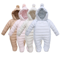 Infant Winter Overalls & Jumpsuit Newborn Girls & Boy Thermal Duck Down Winter Snowsuit Hooded Thick Hooded Comfortable Clothes