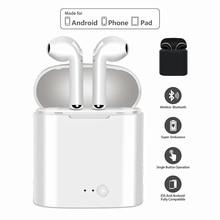 I7S СПЦ беспроводной Bluetooth вакуумные стереонаушники Портативный Спорт гарнитура с зарядки Box Mic для IOS Android Прямая доставка