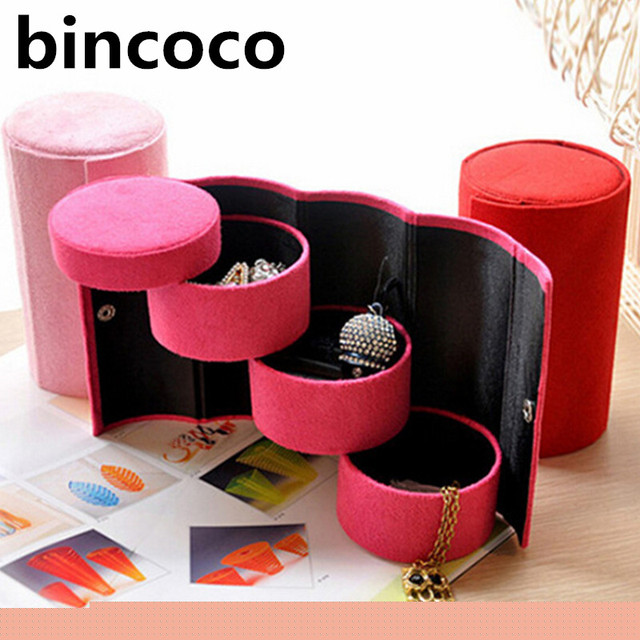 bincoco 3 Layers Jewelry Box Accessories Cylinder Cases Necklace