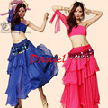 Танец живота костюм (топ + юбка + Талии цепочку) индийский платье 8 цветов танец живота бесплатная доставка танец одежда для женщин