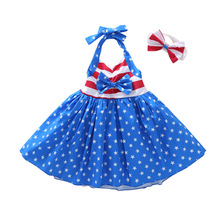 Independence Day Summer Baby Dress Girls American Flag Sling Princess Dresses With Bow Headband