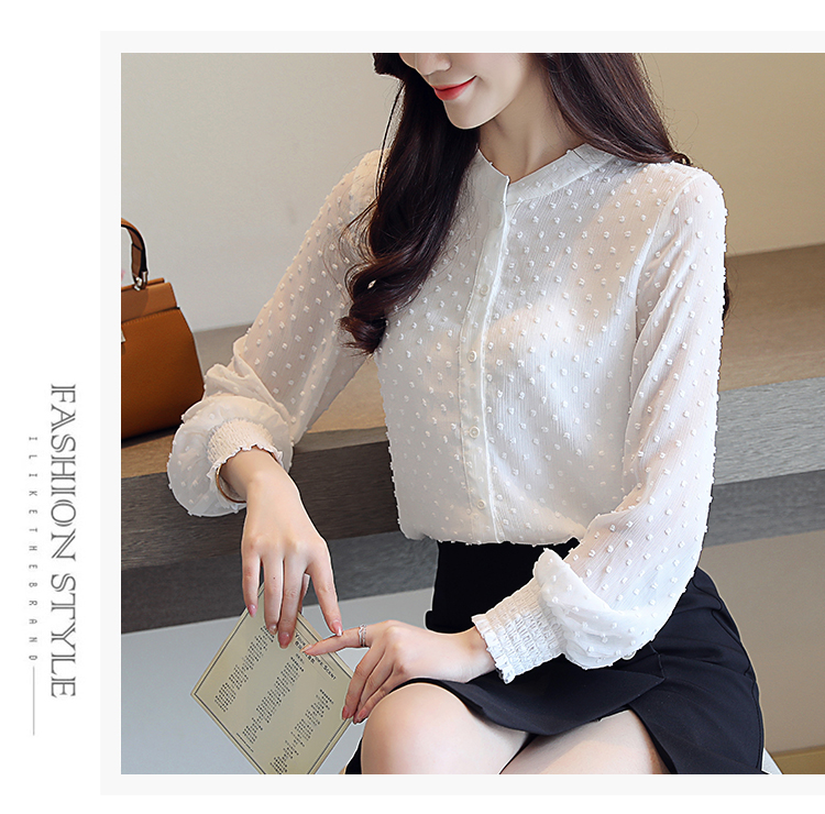 19 New arrived women shirt sweet female V collar wave point long-sleeved suntan women blouse Korean style OL blusa 0974 30 9