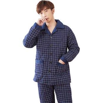 Men's plaid patterns pajama sets three layer thickening winter pajamas men quilted jacket cotton quilted pyjamas plus size L-3XL