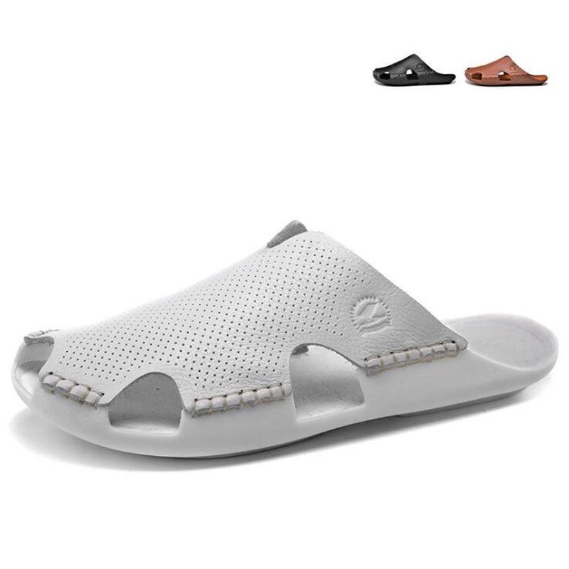 Neue Herrenschuhe Freizeit Mode Leder Slipper Pvc Sohlen Wasserdichte Closed Toe Sandalen. Alias De Cuero De Los Hombres FöRderung Der Produktion Von KöRperflüSsigkeit Und Speichel