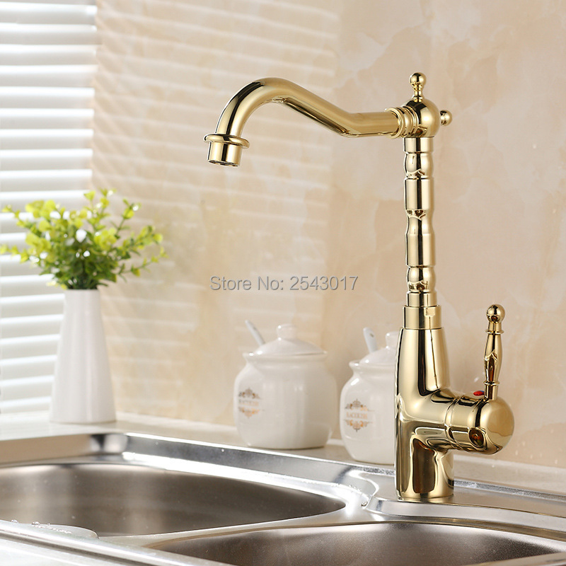 Kitchen Swivel Faucet Gold Brass Finished 360 Degree Rotation Deck Mounted Hot and Cold Mixer Taps