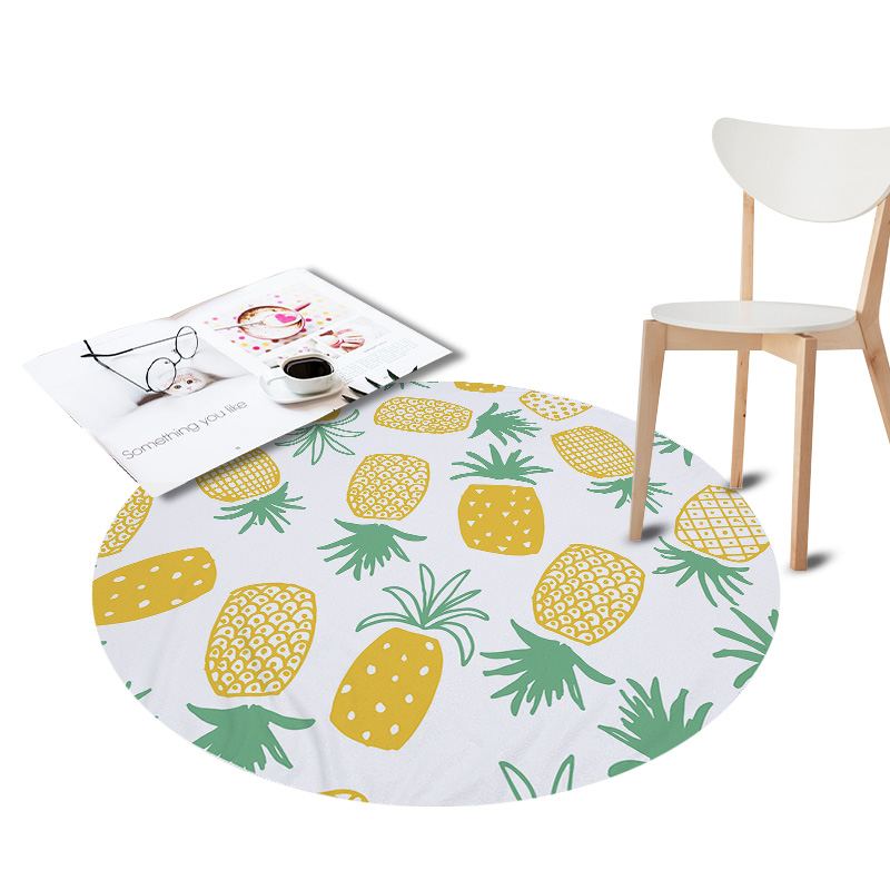 Anti-Slip Round Rugs for Living Room Doormat Pineapple Cactus Printed Carpet Door Floor  ...