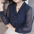 New women blouse Bow-neck 2019 spring fashion chiffon shirts dot womens clothing solid color elegance womens clothes 1864 50