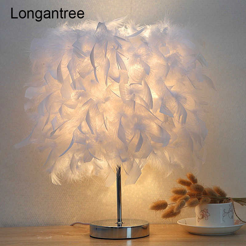 Feather Table Lamp Led Light Modern Bedside Lamp Desk Lamp Vintage Night Light Christmas Bed Lamp Bedroom Room US EU Plug e27