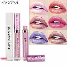 HANDAIYAN Shiny Glitter Lip Gloss Liquid Shimmer Metallic Lip Gloss Waterproof Tint Lipgloss Lips Stick Lipstick Cosmetic Makeup
