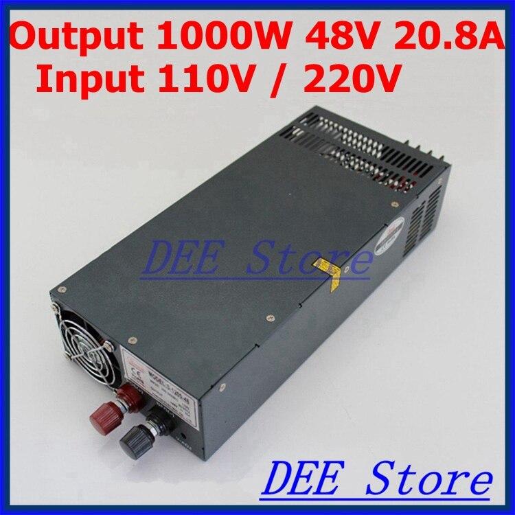 Светодиодный выход драйвера 1000W 48V 20.8A Вход ac 110 v/220 v к dc 48v Один выход Импульсный блок питания для светодиодной ленты