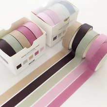 цены на 5 pcs/pack Striped/Grid/Flowers Basic Solid Color paper Washi Tape Set Adhesive Tape DIY Scrapbooking Sticker Label Masking Tape  в интернет-магазинах