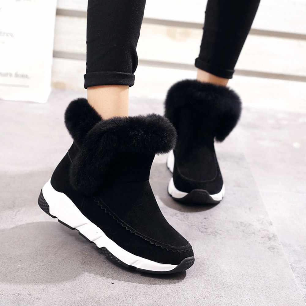 Invierno imitación piel Mujer Zapatos Mujer nieve botas tobillo caliente plataforma cuña Mujer botas Negro Calzado XZ30