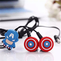 3.5mm auriculares con dibujos animados super hero captain america the avengers batman iron man micrófono oído auricular de teléfono móvil