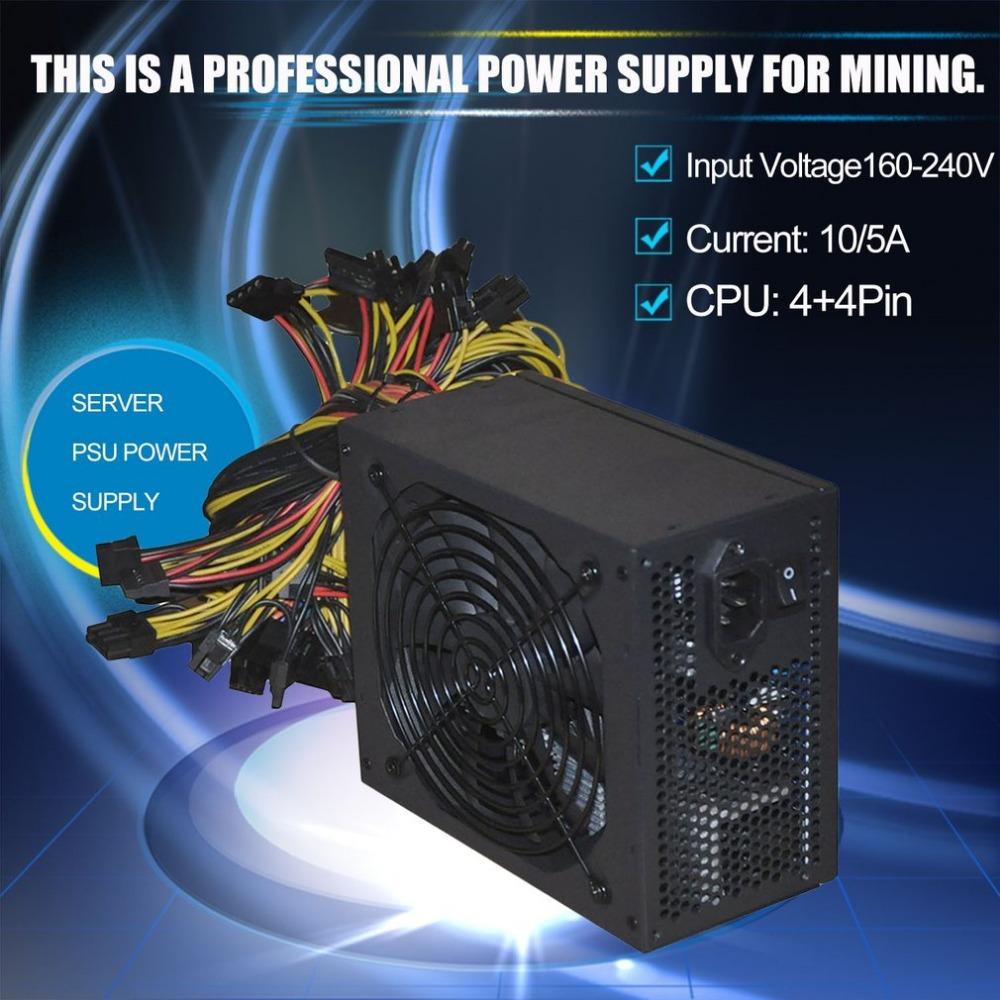 цена на 2000W Max Gold Mining Machine Power Supply High Efficiency Gold Miner Server Power Support Up To 8 GPU free shipping