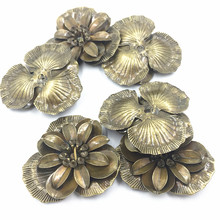 10Pcs Antique Bronze Tone Flower Filigree Hollow Purse Bag Decoration Ornament Alloy Embelishment Jewelry DIY Findings 4.4cm