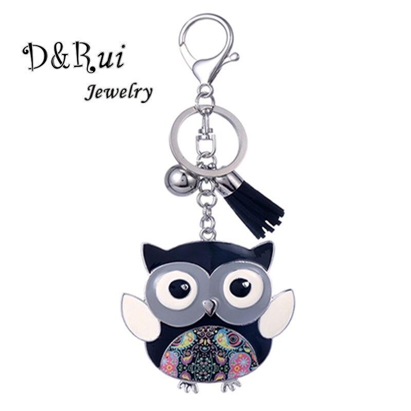 Enamel Owl Keychain Men Women Pet Key Chains Charm Bag Pendants Metal Car Ring Gift Cute Animal Jewelry High Quality New